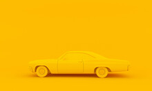 1969 Muscle Car On Yellow Background