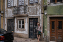 A Woman On One Of The Streets Of Vila Do Conde, Porto District, Portugal.