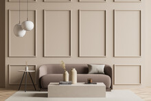 Seating Area With A Sofa Next To A Beige Living Room Wall