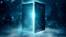 Open Doors. Abstract Light. Night View, Magic Fantasy, Smoke, Smog, Neon. Dark Forest. Abstract Dark Background. Old Wooden Doors. 3D Illustration.