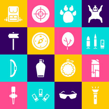 Set Flashlight, Lighter, Bullet And Cartridge, Paw Print, Compass, Road Traffic Sign, Hiking Backpack And Tree Icon. Vector