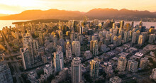 Aerial Vancouver Canada Sunset Skyline