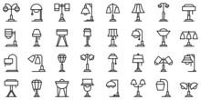 Torchere Icons Set Outline Vector. Light Lamp. Apartment Spotlight