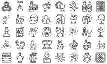 Sommelier Party Icons Set Outline Vector. Champagne Hand. Wine Cheers