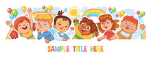 Happy Children Holding Poster. Funny Cartoon Character. Isolated On White Background