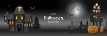 Halloween Banner With Haunted House, Pumpkins And Party Balloons