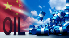 China Fuel Market Collapse Concept. Oil Product Market Crisis. Mountain Of Falling Blue Barrels. PRC Fuel Market Crisis. Word Oil In Front PRC Flag. Oil Industry In China. China Petroleum. 3d Image.