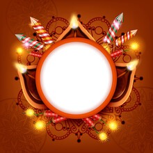 Diwali Lanterns Circle Frame