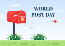 World Post Day Background Which Is Celebrated On October 9 With Mail Box, Map, Bird Or Letter For Greeting, Poster, Profile Photo. Vector Illustration