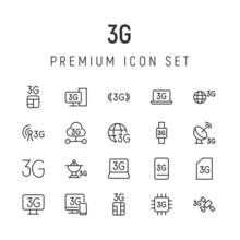 Premium Pack Of 3g Line Icons.