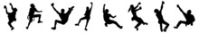 Climbing Wall Silhouettes. Rock Climber Silhouettes. Different Body Positions On The Route During Wall Climbing. Vector Series Of Graphic Design Elements