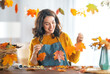 Woman doing autumn decor