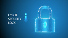 Lock Icon With Polygon Shape 3d Render Of A Symbol Glittering On Blue Background