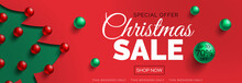 Christmas Sale Red Banner Design Vector Illustration