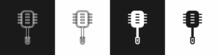 Set Toilet Brush Icon Isolated On Black And White Background. Cleaning Service Concept. Vector