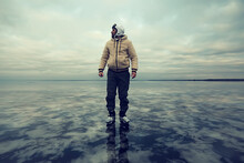 One Guy Skates On The Ice Of A Frozen Lake, Nature Landscape, Man Outdoor Sports