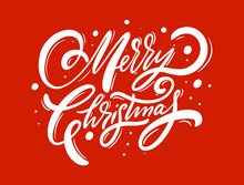 Merry Christmas Lettering Phrase. Modern Calligraphy. Vector Illustration.