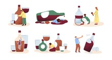 Alcohol Abuse And Addiction Concept. Set Of Drunk People With Bottles Of Alcoholic Drinks. Addicted Drinkers With Unhealthy Habit And Alcoholism. Flat Vector Illustrations Isolated On White Background