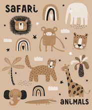 Funny Print With Safari Animals. Lovely Hand Drawn Safari Party Vector Illustration Ideal For Card, Wall Art, Poster. Cute Lion,Tiger,Elephant, Giraffe, Aligator And Monkey On A Brown Background.