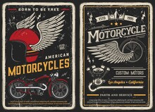 Bike And Motorcycle Vintage Posters. Custom Motors, Parts And Service Vintage Vector Cards For Biker Club. Retro Motorbike Garage, Classic Antique Chopper And Winged Helmet And Wheel Grunge Design