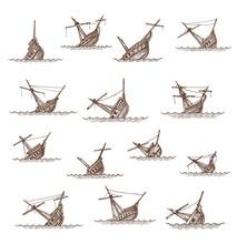 Sunken Sailing Ships And Sailboats Sketch, Vector Boat Wrecks Or Shipwrecks. Broken Drowned Or Sinking Ships In Sea Or Ocean Waves, Vintage Hand Drawn Sunken Pirate Frigate Ships. Map Elements