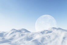 Beautiful Background With White Hills And Moon In Blue Sky. Backdrop And Landing Page Concept. 3D Rendering.