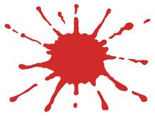 飛散した赤色の液体風のイラスト