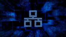 Network Technology Concept With Ethernet Symbol Against A Futuristic, Blue Digital Grid Background. Network Tech Wallpaper. 3D Render