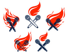 Two Microphones Crossed On Fire, Hot Mic In Flames, Rap Battle Rhymes Music, Karaoke Singing, Vector Logos Or Illustrations Set, Concert Festival Or Night Club Labels, T-shirt Prints.