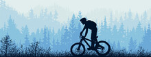 Horizontal Banner. Silhouette Of Mountain Bike Rider On Meadow In Forrest. Silhouette Of Biker, Trees, Grass. Magical Misty Landscape, Fog. Blue And Gray Illustration. Bookmark.