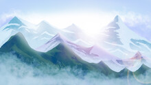 Painting Winter Mountain Landscape