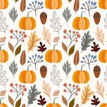 Autumn Decorative Seamless Pattern With Pumpkins And Seasonal Elements, Acorns, Plants, Leaves