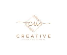 Initial CU Feminine Logo Beauty Monogram And Elegant Logo Design, Handwriting Logo Of Initial Signature, Wedding, Fashion, Floral And Botanical With Creative Template.