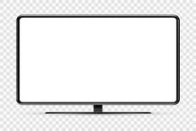 Trendy Realistic Thin Frame Monitor Mock Up With Blank White Screen Isolated. PNG. Vector Illustration.
