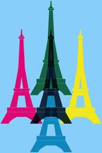 Pop Art. La Tour Eiffel. Paris. France