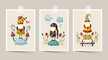 Vector Cute Colorful Illustration Of Garden Gnome With Heart And Flower. Cartoon Elf Kid Illustration For Print. Valentines Card And Poster Set.