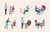 Restaurant meeting. People have a rest in club eating and drinking liquids beverage foods water and alcohol garish vector cartoon background