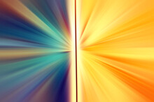 Abstract Radial  Zoom  Blur Surface In Blue, Pink And Yellow Tones. Abstract Blue And Yellow Background With Radial, Diverging, Converging Lines. The Background Is Divided Into Two Parts.