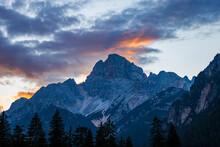 Mountain Peak Of Croda Rossa D'Ampezzo Or Hohe Gaisl (3146 M.) At Sunset, Dolomites, UNESCO World Heritage Site, Trentino-Alto Adige And Veneto, Bolzano And Belluno Province, Italy, Europe.
