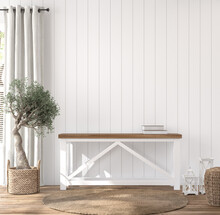 Scandinavian Farmhouse Hallway Interior, Blank Wall Mockup, 3d Render