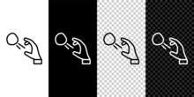 Set Line Hooligan Shooting Small Stones Icon Isolated On Black And White Background. Demonstrator. Vector