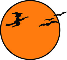 Orange Moon With Witch And Bat Silhouette | Halloween Design