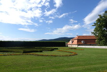The Castle Garden With Green Grass And Garden View During Summer, Located In Český Krumlov (Cesky Krumlov), The Baroque Castle Gardens, Creates An Integral Part Of The Entire Castle Complex