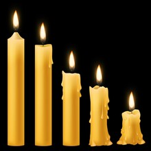 Candles Burning. Romantic Holiday Candlelight Different Burn Stages Collection, Birthday Wax 3d Burnout Paraffin Candle With Flickering Fire. Vector Realistic 3d Isolated Set