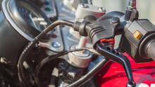 Close Up Of A Motorcycle Handbrake System