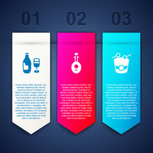 Set Wine Bottle With Glass, Lute And Ramadan Drum. Business Infographic Template. Vector