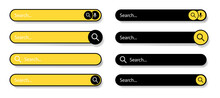 Search Bar For UI. Search Bar Icons. Black And Yellow Icons On A White Background. Modern Selection Of The Search Bar. Vector Illustration.