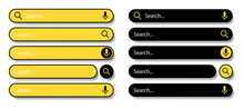 Search Bar For User Interface And Website. Black And Yellow Icons On A White Background. Modern Selection Of The Search Bar. Vector Illustration.
