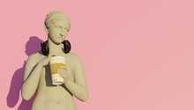 3d Rendering. Goddess Hypnos Drinking Coffee While Listening To Music
