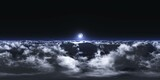 The moon over the clouds.HDRI, environment map , Round panorama, spherical panorama, equidistant projection, panorama 360, 3d rendering